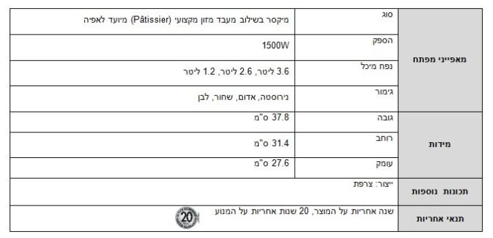 חדש בישראל  מגי'מיקסר - מיקסר ומעבד מזון מבית  ניופאן Magimix