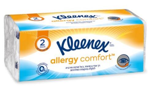 קלינקס משיק Comfort™ Kleenex Allergy טישו היפואלרגני להקלה בתקופת האלרגיות, עדין במיוחד לעור סביב האף ולשימוש מסביב לעיניים
